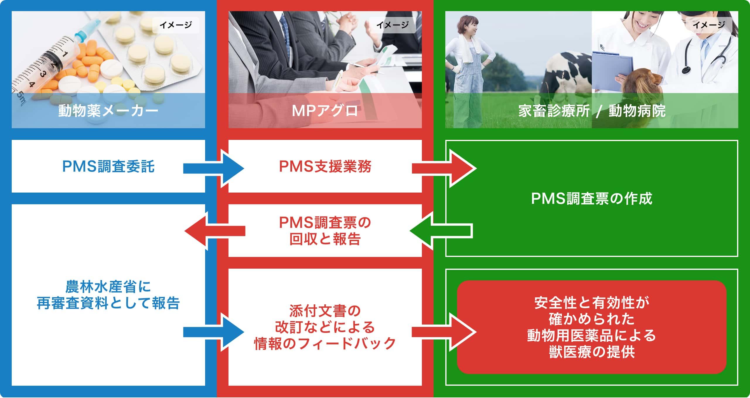 PMS(使用成績調査)のフロー図